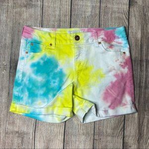 Celebrity Gold High Waisted Tie Dye Shorts